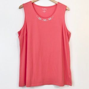 Coral Bay - Silver Butterfly Embellished Top